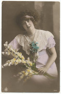 Young Woman With Flowers, 1914 Postcard Used As Birthday Card - Other