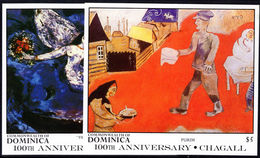 Dominica 1987 Marc Chagall Souvenir Sheet Unmounted Mint. - Dominica (1978-...)
