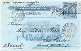 CHILE 1906 - Entire Postal Card Of 3 Centavos Christopher Columbus, To São Paulo, Brazil - Chili
