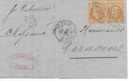 """Lac Cad LE HAVRE LE PORT 3 Dec 1869 Pour VERA CRUZ  Par Le """"TABASCO"""" TB - Postmark Collection (Covers)"""