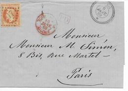 Lsc Cad  TUNIS 9 Janv 1869  Pour PARIS Et TUNIS PAR BONE ALGERIE (rouge) TB - Postmark Collection (Covers)