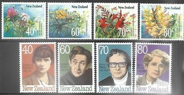 New Zealand  1989   Sc#942-9  Writers & Wildflowers Sets  MNH  2016 Scott Value $5.65 - New Zealand
