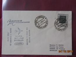 Lettre De Belgique A Destination De Rome (1ere Liaison Aerienne) 1960 - Postmark Collection