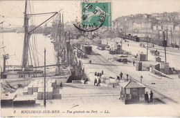 LALI- BOULOGNE SUR MER  EN PAS DE CALAIS  VUE GENERALE DU PORT   CPA  CIRCULEE - Boulogne Sur Mer