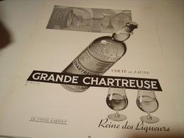 ANCIENNE PUBLICITE GRANDE CHARTREUSE VERTE OU JAUNE  1954 - Alcohols