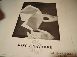 ANCIENNE PUBLICITE PAPIER A LETTRES DE LUXE ROY DE NAVARRE 1954 - Autres Collections