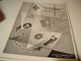 ANCIENNE PUBLICITE JOAILLIER VAN CLEEF & ARPELS LA BOUTIQUE  1954 - Bijoux & Horlogerie