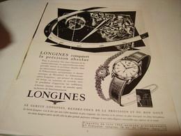 ANCIENNE PUBLICITE MONTRE LONGINES 1954 - Bijoux & Horlogerie