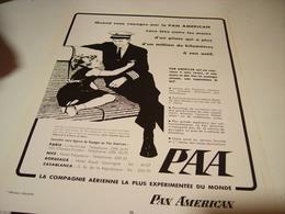 ANCIENNE PUBLICITE PAN AMERICAN EXPERIANCE  1954 - Publicités