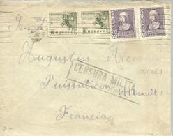 CARTA 1939 CENSURA MILITAR BARCELONA  A PUISSALICON  HERAULT   FRANCIA - Marcas De Censura Nacional