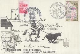 Carte  Exposition  Philatélique   SAINT  LAURENT   D' AIGOUZE   1990   +  1er  Jour   CAMARGUE   ARLES  1995 - Esposizioni Filateliche