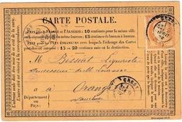 Carte Postale Crest La Roche Sur Grane 1876 Drôme Orange Vaucluse Bésséat Liquoriste Cérès 15 Centimes - 1871-1875 Cérès