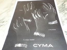 ANCIENNE PUBLICITE MONTRE  CYMA 1949 - Bijoux & Horlogerie