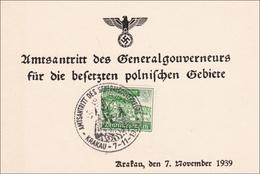 Generalgouvernement (GG):Gedenkkarte Amtsantritt Gouverneur Frank In Krakau 1939 - Occupation 1938-45