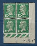 """FR Coins Datés YT 174 """" Pasteur 30c. Vert """" Neuf** Du 14.6.27 - Ecken (Datum)"""