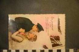 CP, Couple, En Pensant à Toi, Le Drapeau Flotte Et Sur Mon Coeur..., Avion, Aviateur, Drapeau,  Militaria, - Couples