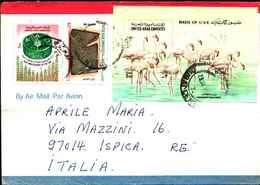 74630) EMIRATI ARABI UNITI-LETTERA CON BF-FENICOTTERI+FAO+ARCHEOLOGIA PERISICA IL 28-6-1995 - Francobolli
