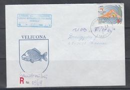 Lithuania Litauen 2000 Used Cover Coat Of Arms Veliuona,cancel Smalininkai - Litauen
