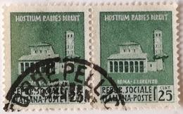 Lote 2 Sellos 25 Céntimos. San Lorenzo, Roma. República Social Italiana. Italia Fascista. II Guerra Mundial. 1944 - Usados