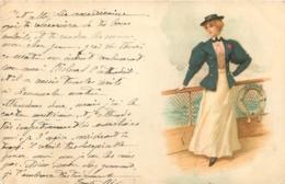 ILLUSTRATEUR FEMME SUR BATEAU LA SIRENE  1902 - Paquebots