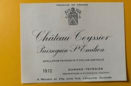 9320 - Château Teyssier 1972  Puisseguin Saint-Emilion - Bordeaux