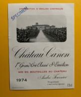 9322 - Château Canon 1974   Saint-Emilion  Specimen - Bordeaux