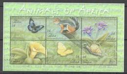 A521 GAMBIA FAUNA ANIMALS OF AFRICA BUTTERFLIES 1KB MNH - Butterflies
