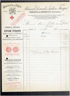 FACTURE 1904 MANUFACTURE DE SAINT REMY CALVADOS FABRIQUE DE COTON ETOUPE PANSEMENT PHARMACIE HOPITAL - France