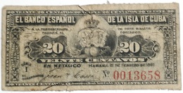 Billete Cuba Española. 20 Centavos. 1897. Rey Alfonso XII. La Habana. Serie I - Cuba
