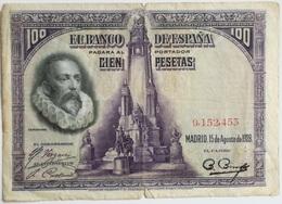 Billete 100 Pesetas. 1928. España. Cervantes. Menéndez Pidal. Sin Serie - [ 1] …-1931 : Primeros Billetes (Banco De España)