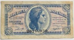 Billete 50 Céntimos. 1937. Serie B. Muy Buena Conservación. República Española. Guerra Civil - [ 2] 1931-1936 : Republic