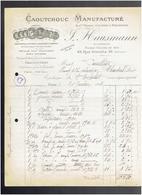 FACTURE 1904 CAOUTCHOUC MANUFACTURE HAUSMANN 43 RUE GRENETA A PARIS 2 - France