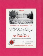 Etiquette Vin, Grand Cru Saint-Emilion, Château Haut-Sarpe, 1948 - Collections, Lots & Séries