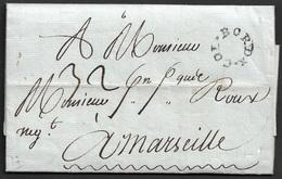 1787 LAC - BORDX.COL - MARQUE D'ENTREE- BORDEAUX COLONIES - A MARSEILLE - Premiere An D'utilisation - Postmark Collection (Covers)