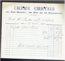 FACTURE 1904 CREME CHRYSIS 157 RUE BLOMET ET 182 RUE DE LA CONVENTION A PARIS - France
