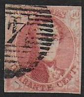 BELGIQUE -  N° 8b Papier Cotelé  Oblitéré  - Cote : 300,00 € - 1851-1857 Medallions (6/8)