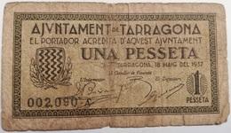 Billete 1 Peseta 1937. Tarragona, Cataluña. República Española. Guerra Civil. Serie B - 1-2 Pesetas