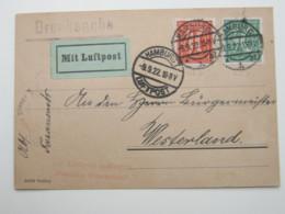 1922 , Flugpost Drucksache Aus Hamburg, Seltenes Porto - Briefe U. Dokumente