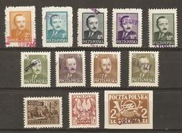 Pologne 1950 - Petit Lot De 12 Timbres MNH Surchargés GROSZY - Dévaluation - Président Bierut - 1944-.... Republic
