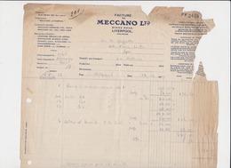 MECCANO / JOUETS 1929 LIVERPOOL - Royaume-Uni