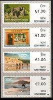 IRELAND, 2018, MNH, SELF -ADHESIVE STRIP, CASTLES, HORSES, MOUNTAINS, SURFING, SHOPS,4v - Castles