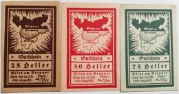 Lote 3 Billetes Gries Am Brenner. 25, 50 Y 75 Heller. 1920. Notgeld. Austria. Sin Circular. Post I Guerra Mundial - [11] Emisiones Locales