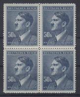 Böhmen + Mähren 110 4er Block Adolf Hitler 50 K Postfrisch - Occupation 1938-45