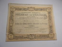 Compagnie Parisienne D'éclairage Par L'éléctricité (1878) - Actions & Titres