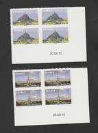 FRANCE / 2009 / Y&T N° AA 334A/335A ** : Tour Eiffel & Mont Saint Michel (TVP Monde De Feuille) X 4 - Coins Daté 2010 08 - Coins Datés