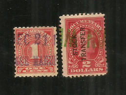 Year 1902.Documentary Internal Revenue Stock Transfer 2 Dollars  +  DOCUMENTARY STAMP-revenue. 1c. Oblirtérés - Fiscaux