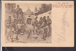 5.bayr.Jäger - Btl. Bei Bagneux  1870 ,  Bahnpost  Hof - Nürnberg 1912 - Régiments