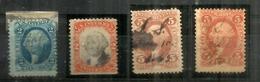 Year 1870: US Intern.Revenue , 4 Timbres  Oblitérés, Bonne Qualité - Fiscaux