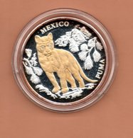 LIBERIA $10 2004 MEXICO PUMA SILVER PROOF MET 24 KT GOUD EN BRILJANT IN OGEN ZEER KLEINE OPLAGE - Liberia