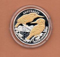 LIBERIA $10 2004 AUSTRALIE KOOKABURRA SILVER PROOF MET 24 KT GOUD EN BRILJANT IN OGEN ZEER KLEINE OPLAGE - Liberia
